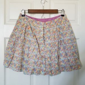 Free People Floral Pleaded Skirt Size 8 Lined